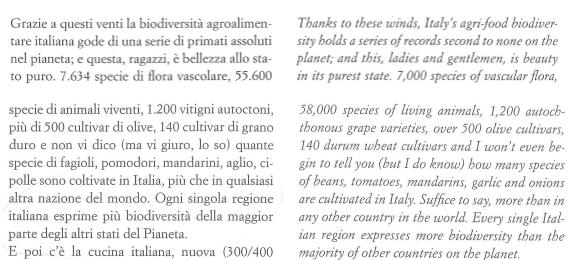 Le cifre fornite da Farinetti in Nel Blu.